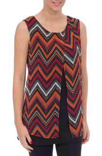 Sleeveless Chiffon Layered Print Top