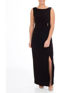 Asymmetric Wrap Sleeveless Maxi Dress - Black
