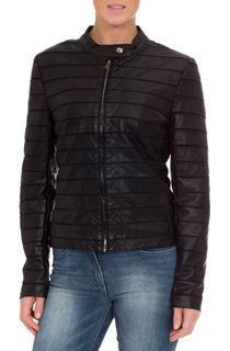 Faux Leather Stripe Jacket - Black