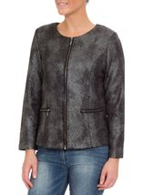 Collarless Zip Jacket