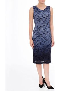 Ombre Lace Fitted Sleeveless Midi Dress
