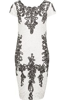 Cap Sleeve tape Work Scuba Midi Dress - White/Black