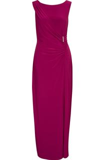 Asymmetric Wrap Sleeveless Maxi Dress - Hot Pink