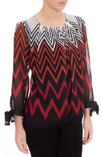 Georgette Zig Zag Tie Sleeve Top