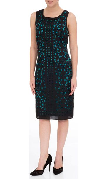Double Layer Laser Cut Sleeveless Midi Dress