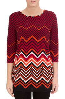 Printed Three Quarter Sleeve Zig Zag Tunic