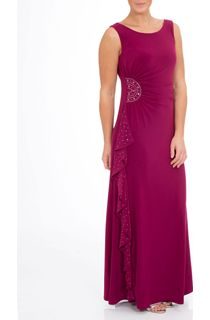 Sleeveless Diamante Trim Waterfall Maxi Dress - Pink