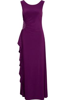 Sleeveless Diamante Trim Waterfall Maxi Dress - Dk Purple
