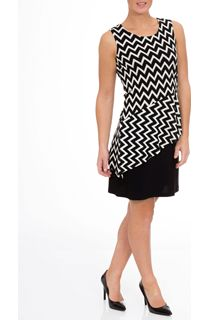 Monochrome Zig Zag Sleeveless Midi Dress