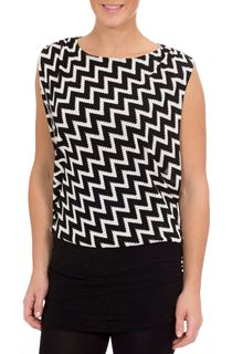 Monochrome Zig Zag Sleeveless Top