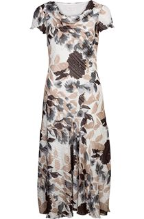 Anna Rose Bias Cut Floral Printed Cowl Neck Dress