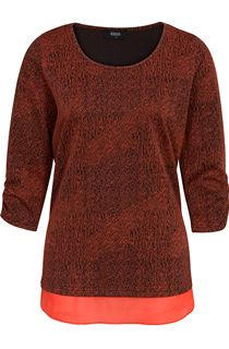 Georgette Trim Round Neck Knit Top - Multi