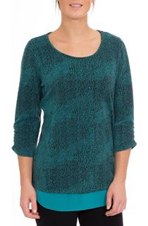 Georgette Trim Round Neck Knit Top - Black/Kingfisher