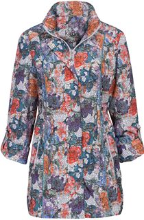 Printed Turn Sleeve Lightweight Zip Jacket
