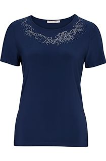 Anna Rose Embellished Round Neck Top