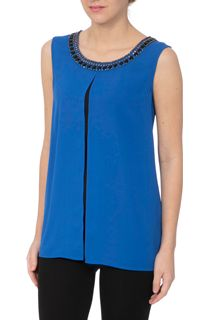 Embellished Sleeveless Colour Block Top
