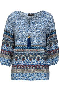 Printed Three Quarter Sleeve Tassel Top
