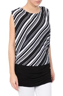 Monochrome Stripe Sleeveless Jersey Top