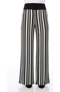Wide Leg Monochrome Stripe Trousers
