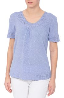 Anna Rose Laser Cut Textured Top - Lilac