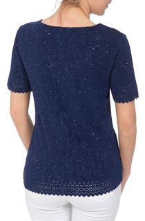 Anna Rose Laser Cut Textured Top - Blue