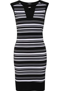 Monochrome Stripe Sleeveless Midi Dress
