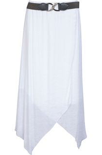 Cross Over Hanky Hem Belted Skirt - White