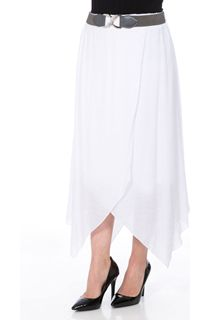 Cross Over Hanky Hem Belted Skirt