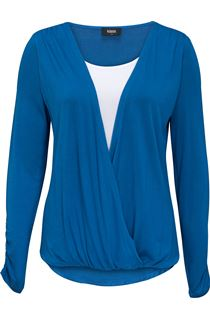 Long Sleeve Draped Jersey Top - Cobalt/White
