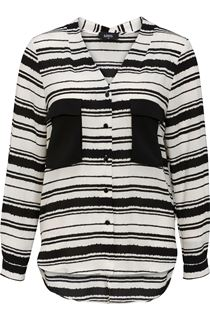 Monochrome Stripe Split Back Blouse
