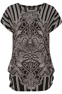 Monochrome Placement Printed Tunic