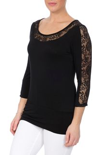Three Quarter Sleeve Lace Trim Jersey Top
