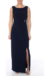 Asymmetric Wrap Sleeveless Maxi Dress - Midnight