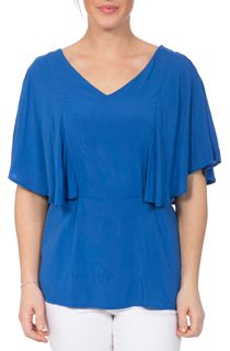 Short Flute Sleeve V Neck Top - Blue