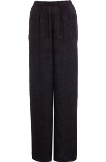 Wide Leg Burn Out Lined Trousers