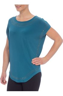 Loose Fit Embellished Stretch Top - Sea Green