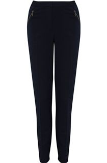 Narrow Leg Zip Pocket Trousers - Navy