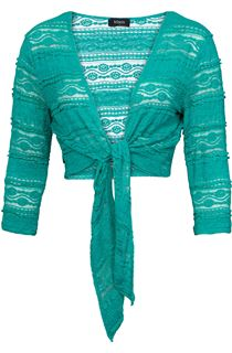 Tie Front Lace Cover Up - Jade