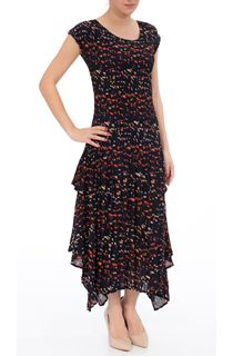 Short Sleeve Printed Pleat Maxi Dress