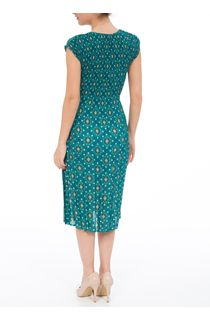 Short Sleeve Printed Pleat Midi Dress