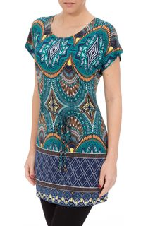 Short Sleeve Printed Stretch Tunic