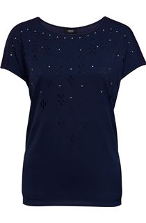 Short Sleeve Laser Cut Top - Navy