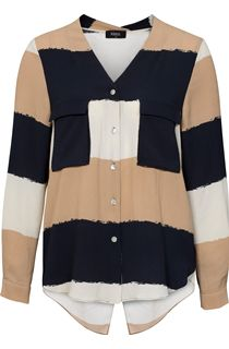 Block Stripe Split Back Blouse