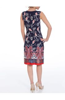 Tile Border Print Round Neck Midi Dress