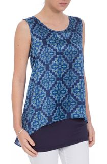Double Layer Printed Sleeveless Top