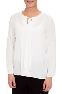 Long Sleeve Tie Neck Crepe Blouse - Ivory