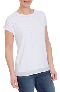 Short Sleeve Laser Cut Top - White
