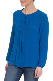 Long Sleeve Tie Neck Crepe Top - Blue
