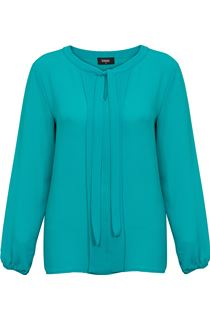 Long Sleeve Tie Neck Crepe Top - Kingfisher