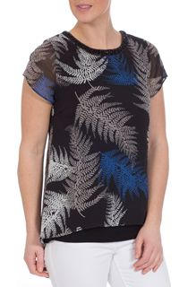 Leaf Printed Chiffon Layered Top